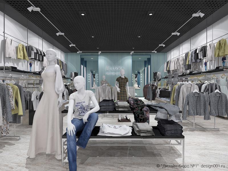 магазин женской одежды мятнный цвет и черный, вид на общий зал, торговое оборудование и примерочные