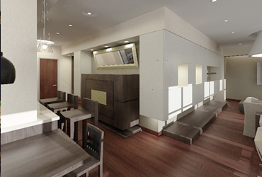 Вид из кухни на гостиную