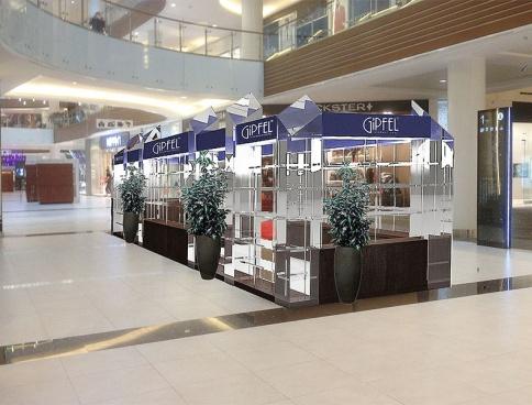 """Дизайн островного магазина Gipfel,  в ТЦ """"VEGAS"""". 30 кв.м.  Москва"""