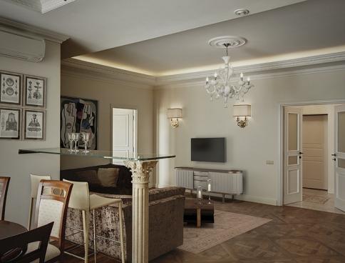 Дизайн интерьера 2-этажной квартиры  в ЖК «Триумф-палас». 334 кв.м. Москва. Фото