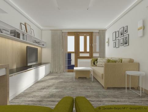 Дизайн 3-х комнатной  квартиры 78 м2 в панельном доме П-68. Москва